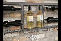 Reclaimed Industrial Grey Metal Wall Wine Rack Glass Holder (dx6479)
