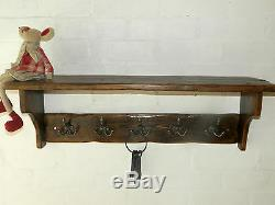 Reclaimed look wood Hat & Coat Rack with shelf Cottage Country style 3-10 hooks