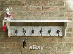 Reclaimed wood Hat and Coat Rack with shelf Rustic Rustic Shabby Chic white wash