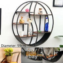 Retro 59CM/80CM Round Wall-mounted Shelves Hanging Storage Shelf Rack Iron&Wood