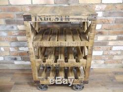 Retro Industrial vintage wine rack Trolley 8 bottle wine store urban 3 Tier