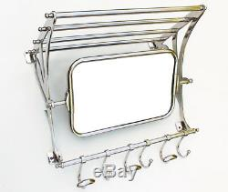 Retro Vintage Style Train Hall Luggage Wall Mounted Rack Mirror Shelf 6 Hooks