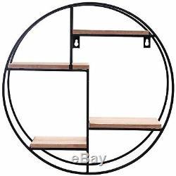 Round Display Shelf 40cm Metal Wall Shelves Hanging Home Storage Rack Unit