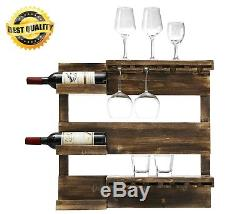 Rustic Burnt Wood Wall Mounted Glass Wine Liquor Holder Rack Storage Organizer