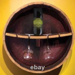 Rustic Oak Barrel Wine Bottle /Glass Stemware Rack, Wall Mounted Home Bar Display