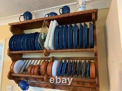 Rustic Pine, Penny inlaid Double Plate Rack & Mug Holder