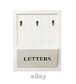Shabby Chic White Wooden Letter Rack With 3 Key Hooks Letter Key Holder Hooks
