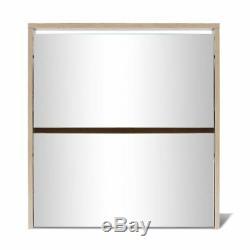 Shoe Cabinet Storage Organiser Rack Stand 2/3-Layer Mirror Oak/White 2 Sizes