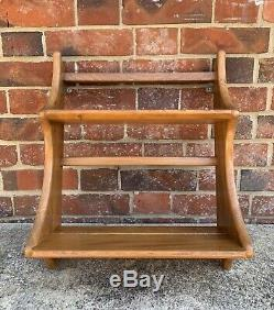 Small Vintage 1960's Ercol Two Tier Plate Rack / Wall Shelf