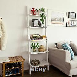SoBuy 5-tier Wood Ladder Shelf, Standing Wall Rack, Bookcase, White, FRG17-W, UK