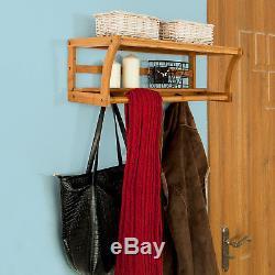 SoBuy Wall Mounted Bathroom Towel Rail Hanger Rack Shelves 4 Hooks, FRG49-N, UK