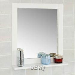 SoBuy Wood Wall Bathroom Mirror with Shelf, Bathroom Storage Rack, FRG129-W, UK