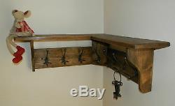 Solid Pine Wood CORNER Coat Rack with shelf Shabby Rustic Jacobean Rustic, hooks
