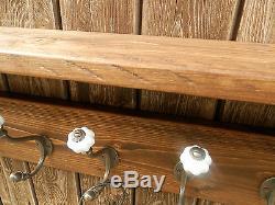Solid wood Hat & Coat Rack with shelf and ceramic hooks, Tudor oak finish
