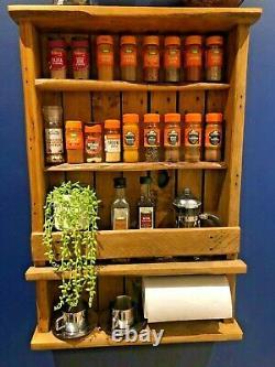 Spice Rack Rustic Wooden Handmade Kitchen storage Herb rack Spice shelf
