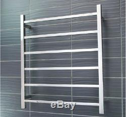 Square Chrome Heated Electric 6 Bar Towel Rack Ladder 304 Stainless Steel AU