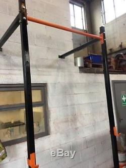 Squat Rack & Adjustable Pull Up Bar (a beefy steel rig) BRAND NEW wall mounted