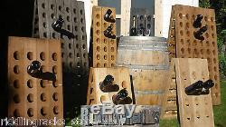 Stained Old Oak Champagne Riddling Rack for 60 Wine Bottles - Winerack + Holder