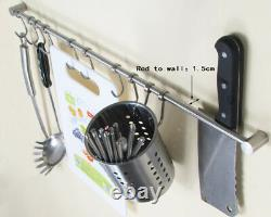 Stainless Steel Brushed Hanging Rail for Kitchen Utensils Wall Mounted Rack Hook