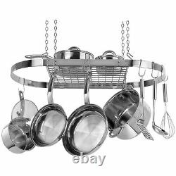 Stainless Steel Metal Oval Hanging Pot Rack Pans Cookware Kitchen Hanger Decor