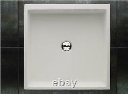 Stone Resin Basin Square Bathroom Sink 465mm by 465mm Countertop Wall Mounted