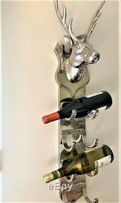 Stunning Chrome Nickel Silver Wine Rack Holder 4 Bottle Wall Mounted Stags Head