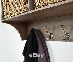 TETBURY Acacia Coat Rack with storage baskets, Hallway Hanging shelf, ASSEMBLED
