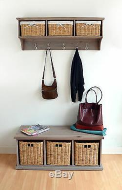TETBURY hanging shelf with storage baskets, Large Coat Rack, Hallway storage unit