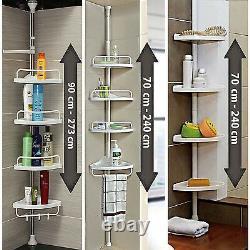 Telescopic 4 Tier Adjustable Bathroom Corner Shower Shelf Rack Caddy Organiser