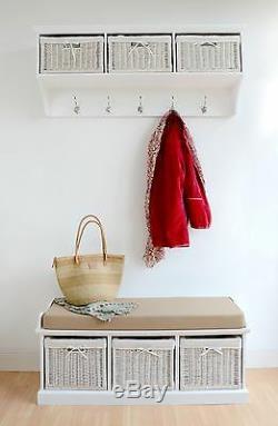 Tetbury Large White Hallway Coat Rack and Bench set, QUALITY hallway furniture