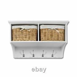 Tetbury White Coat Rack with 2 Storage Baskets. Hallway hanging shelf, 4 hooks