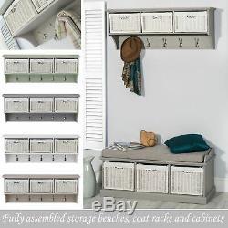 Tetbury hanging shelf. Coat rack with 3 storage baskets. Quality hallway furniture