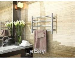 Towel Warmer Bar Electric Bathroom Heated Wall Mount Rack Home Plug In Nickel