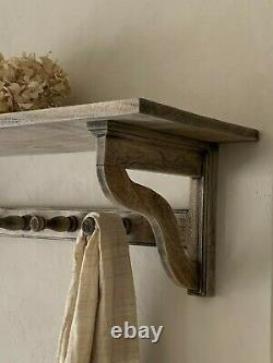 Traditional Country style Coat Rack with Shelf 8 Hooks Large Vintage style 150cm