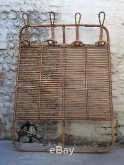 VINTAGE 60s 70s RATTAN WALL HANGING STORAGE RACK WTH COAT HOOKS retro cane