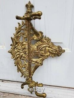 VTG Solid Brass Figural Victorian Maiden Coat Hat Rack Wall Mount Hook Hanger