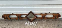 Victorian Antique Oak Coat, Hat Rack, Entry Way, Wall Mounted Hooks With Mirror