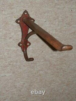 Victorian Cast Iron Wall Mounted Red Saddle Rack With Bridle Hook