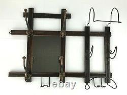 Victorian Oak Wall Mount Hat Coat Rack with Mirror Wire Hooks Antique Barber Salon