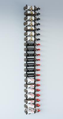 VintageView WS72 7-Foot 42 Bottle Wall Mounted Wine Rack in Satin Black