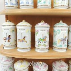 Vintage 1993 Lenox Wood Spice Carousel Rack with Porcelain 24 Jars