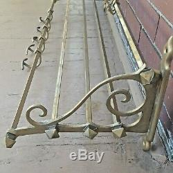 Vintage 35 Brass Wall Mount Hat Coat Rack with 5 LG and 6 SM Sliding Coat Hooks