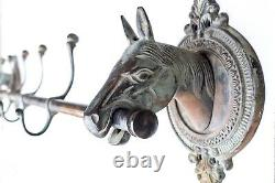 Vintage 37.5 Brass Equestrian Horse Head wall mount Coat Rack with 5 hooks