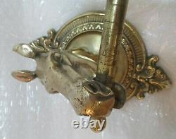 Vintage BRASS HORSE HEAD CLOTHES COAT RACK with WALL MOUNT-5 HOOKS affordable