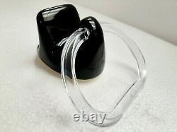 Vintage Black Ceramic Towel Bar Ring Holder Rod Rack Acrylic Mid Century Modern