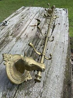 Vintage Brass Horse Equestrian Head 5 Hook Wall Mounted Coat Rack