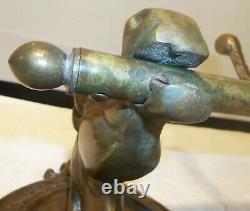 Vintage Brass Horse Head 4 Hook Clothes Coat Tack Rack Wall Mount NICE PATINA