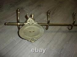 Vintage Brass Horse heads 5 hook wall mount Coat hat Rack