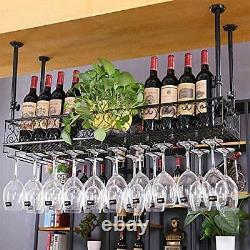 Vintage Ceiling-Mounted Bar Wine Rack Wine Glass Hanging Rack Shelf Restaurant