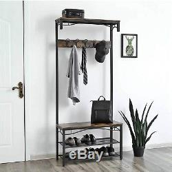 Vintage Coat Rack Garment Umbrella Hook Stand Shoe Storage Bench Tall Hall Unit